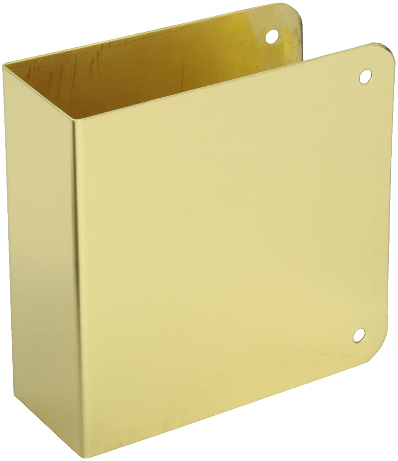 Pack of 10 Don-Jo 80-CW 22 Gauge Stainless Steel Blank Wrap-Around Plate with Trim Screws Polished Brass Finish 4-1//4 Width x 4-1//2 Height
