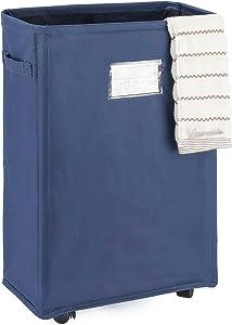 "Caroeas 22"" Slim Rolling Laundry Basket Waterproof Laundry Storage Hamper Corner Fittable Storage Bag Collapsible Rolling Hamper Flexible Laundry Bag On Wheel for Home,Office (Slim 22"",Navy Blue)"