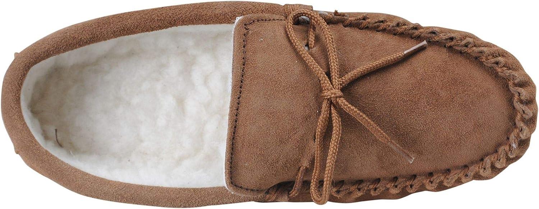 Wool Lined Slippers # 423-100 Nordvek Mens Sheepskin Moccasin Soft Suede Sole