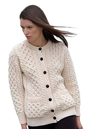 000ee8e808c490 Traditional Aran Wool Irish Cardigan at Amazon Women's Clothing store: