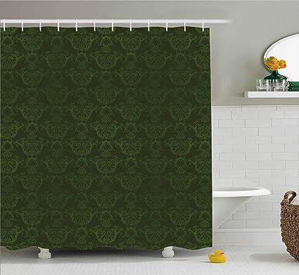 Lunarable Hunter Green Shower Curtain Victorian Damask Rococo Renaissance Swirled Classic Floral Petals Pattern