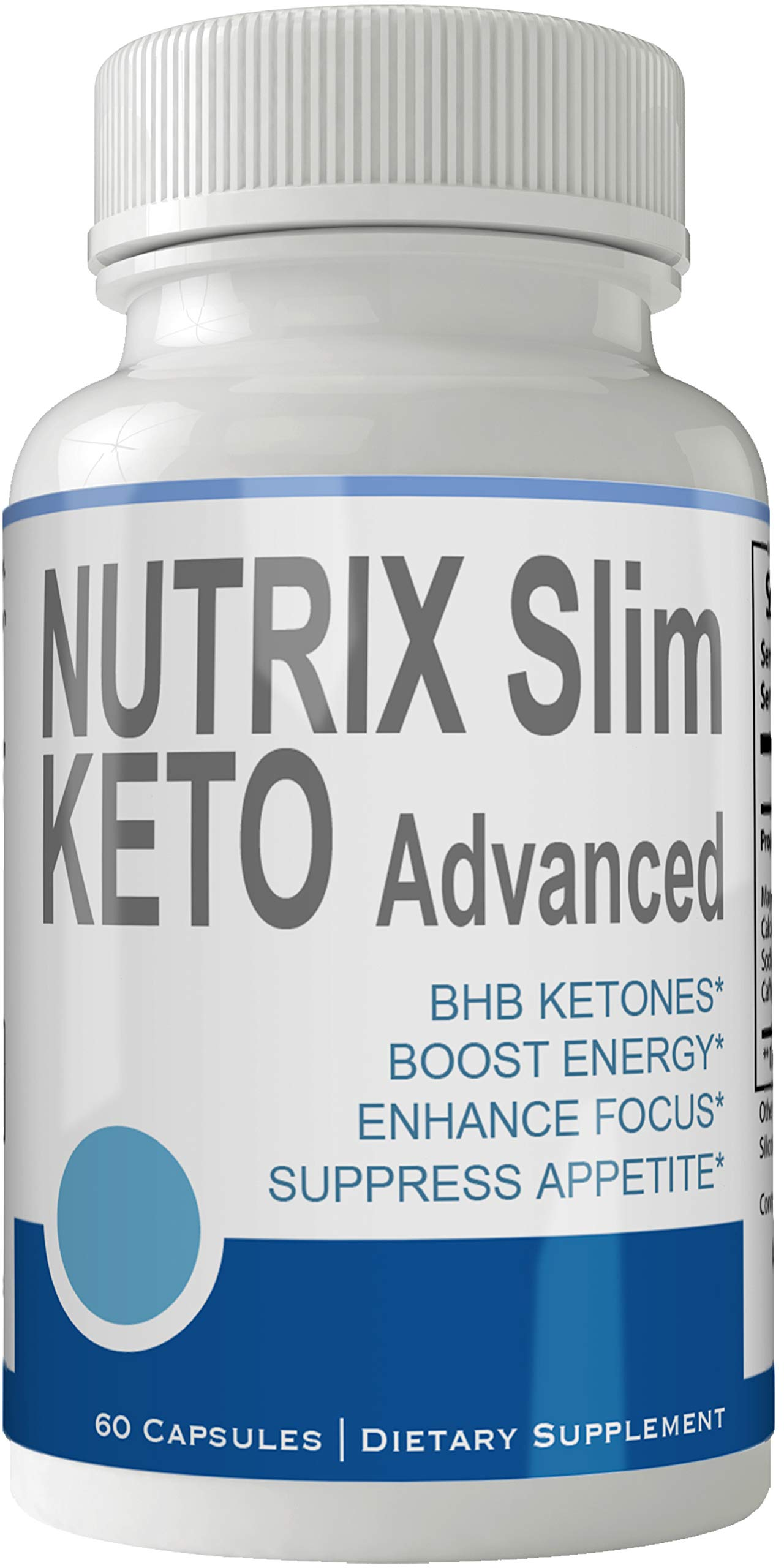 Nutrix Slim Keto Advanced Pills Weight Loss Supplement, Appetite Suppressant with Ultra Advanced Natural Ketogenic Capsules, 800 mg Fast Formula with BHB Salts Ketone Diet Boost Metabolism and Focus
