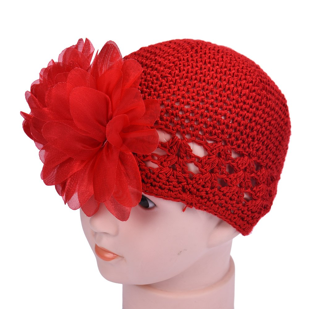 Changeshopping(TM)Flower Toddlers Infant Baby Girl Lace Hair Band Headband Headwear Hat Crochet (Red) Changeshopping 5464