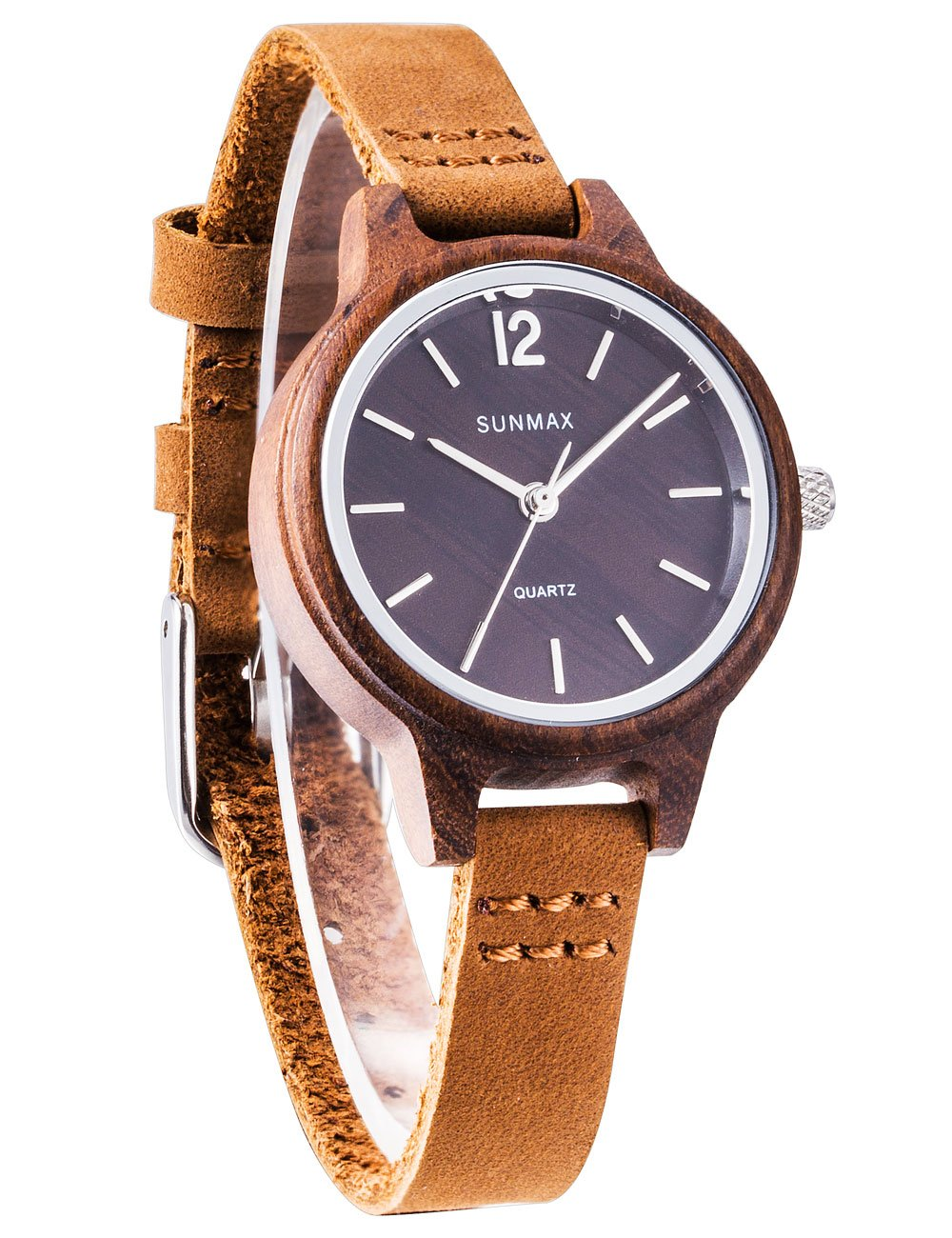 SUNMAX Wooden Watches for Women's Girl Friend Ebony Wood Series/Dial 30mm/Leather Strap/Wood Bezel/Analog Quartz Movement-Bamboo Wrist Watch Gift Box