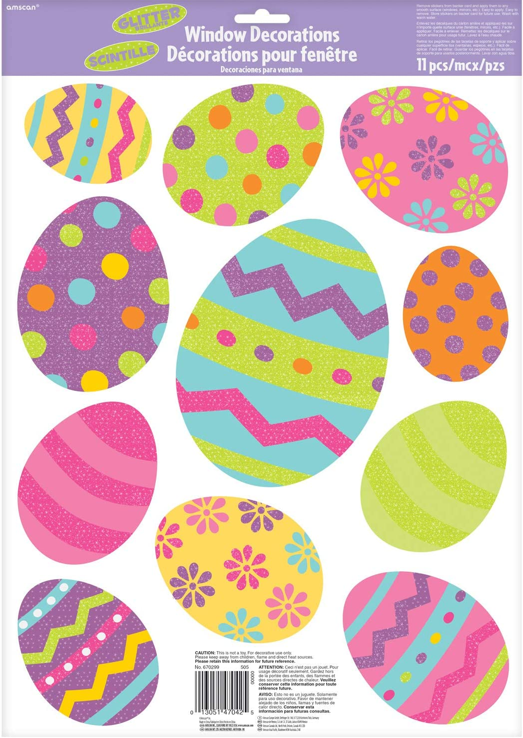 Easter Egg Glitter Vinyl Window Decorations