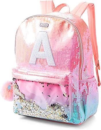 Amazon Com Justice Girls Ombre Initial Shaky Backpack Pink
