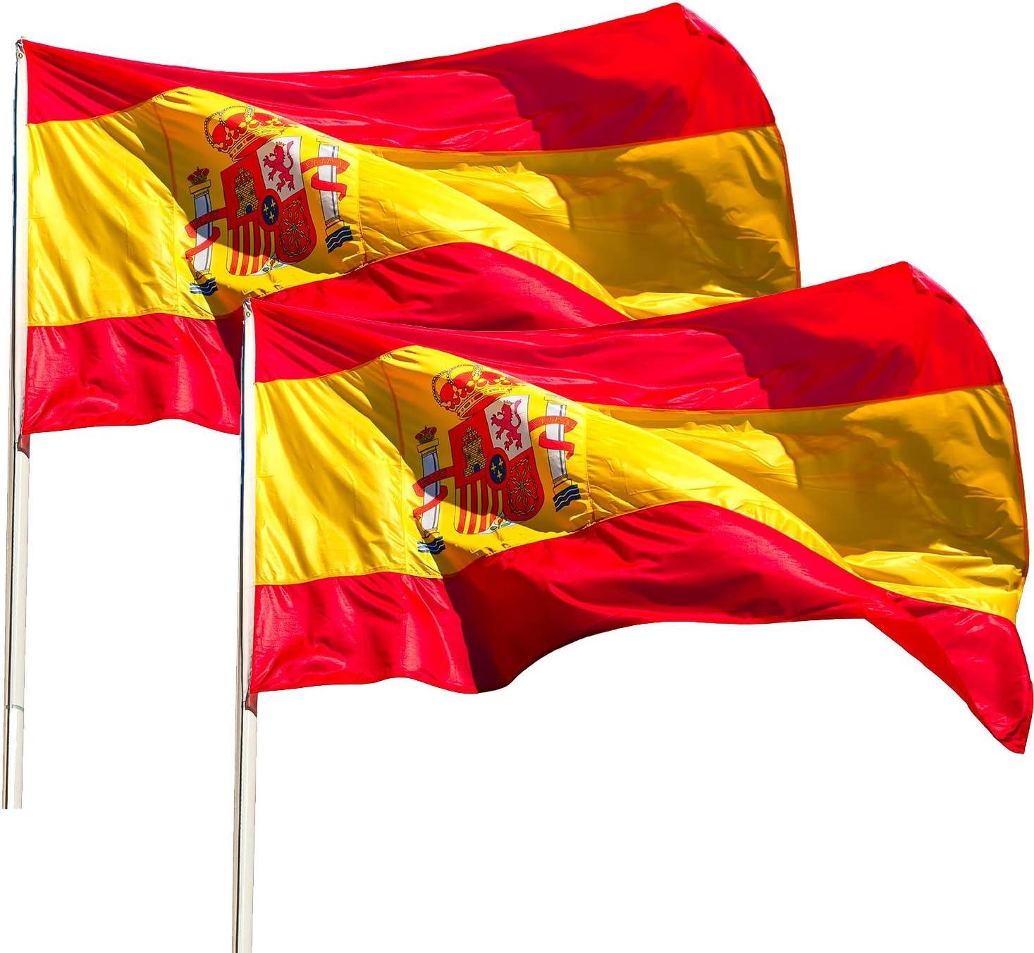 KliKil Bandera España Grande - Pack de 2 Banderas, Bandera de España Balcon, Bandera Española para Exterior Jardin y colgarlo en un Mastil, Spanish Flag - 150x90 cm: Amazon.es: Jardín