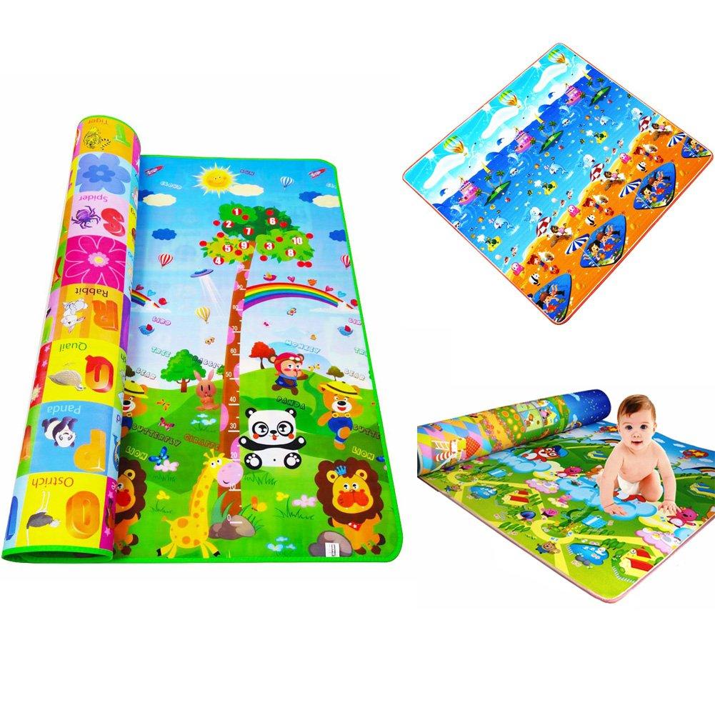 Baby Play Mat, baby giocare frutta lettere Farm Crawling–Tappeto per bambini fronte-retro pieghevole tappeto coperta giocattolo per bambini, 1.2*1.8m/1.5*1.8m/2*1.8m per la scelta, colore casuale Woopower
