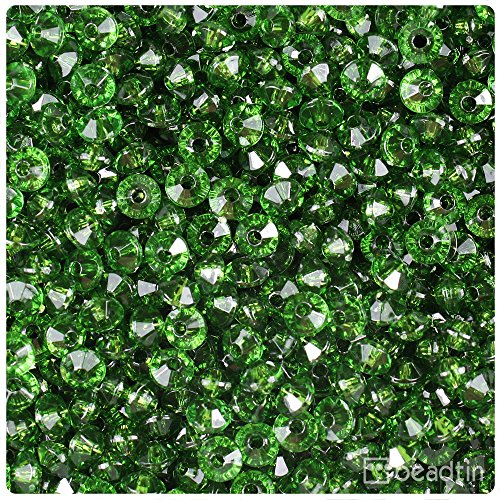 BeadTin Dark Peridot Green Transparent 6mm Faceted Rondelle Craft Beads (Peridot Faceted Rondelle Beads)