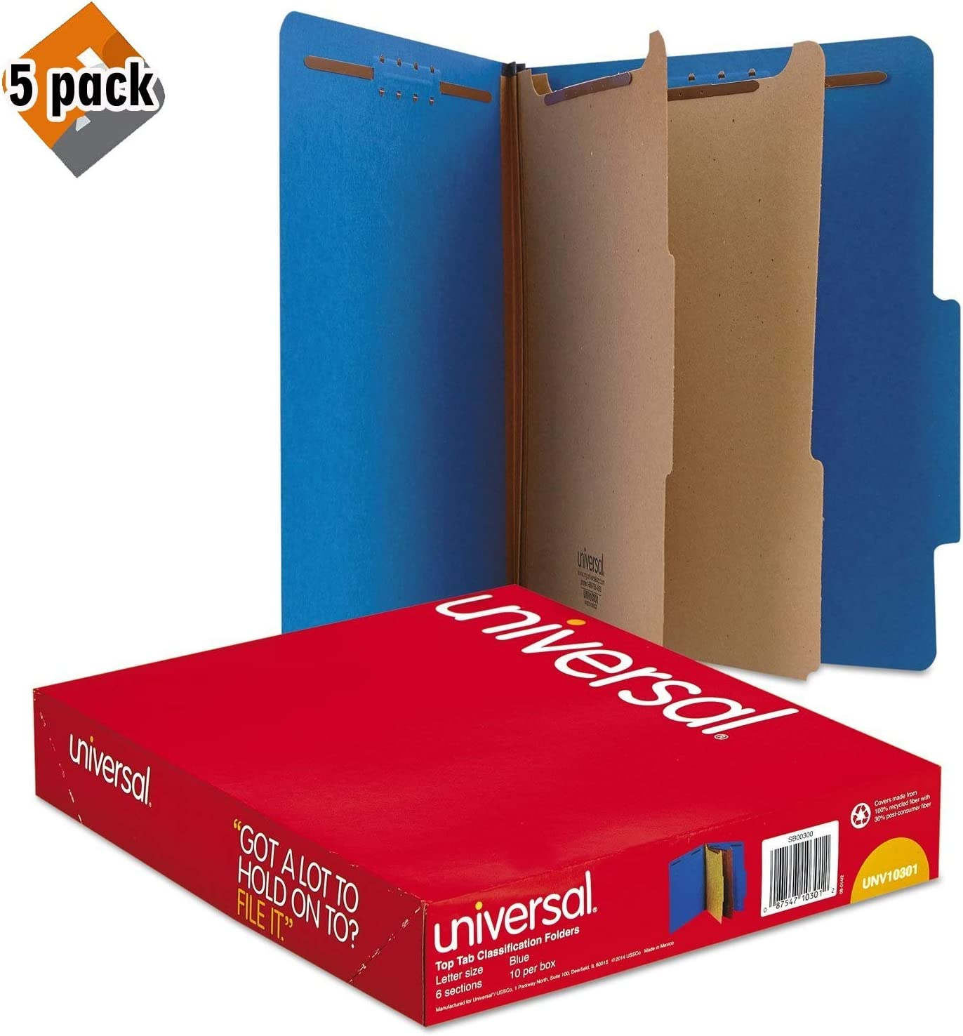 Letter Cobalt Blue Universal Pressboard Classification Folders Six-Section 10301 10//Box