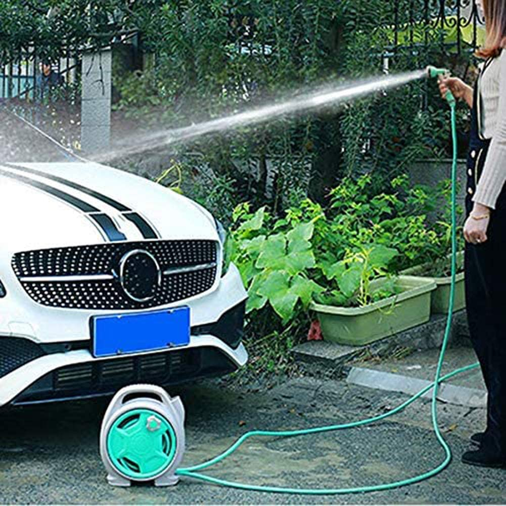 Byjia Portable Garden Hose Reel Cart Wall Mounted Expandable Hose with 6 Function Spray Nozzle for Car Wash Watering,Pink Blue