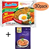 Bonus Pack - Indomie Mi Goreng Instant Noodle 3 oz - (Pack of 30) PLUS your choice of Asian Home Gourmet Spice Paste (1.75oz x 1packet) (Indian Butter Chicken ASIAN HOME GOURMET Bonus)