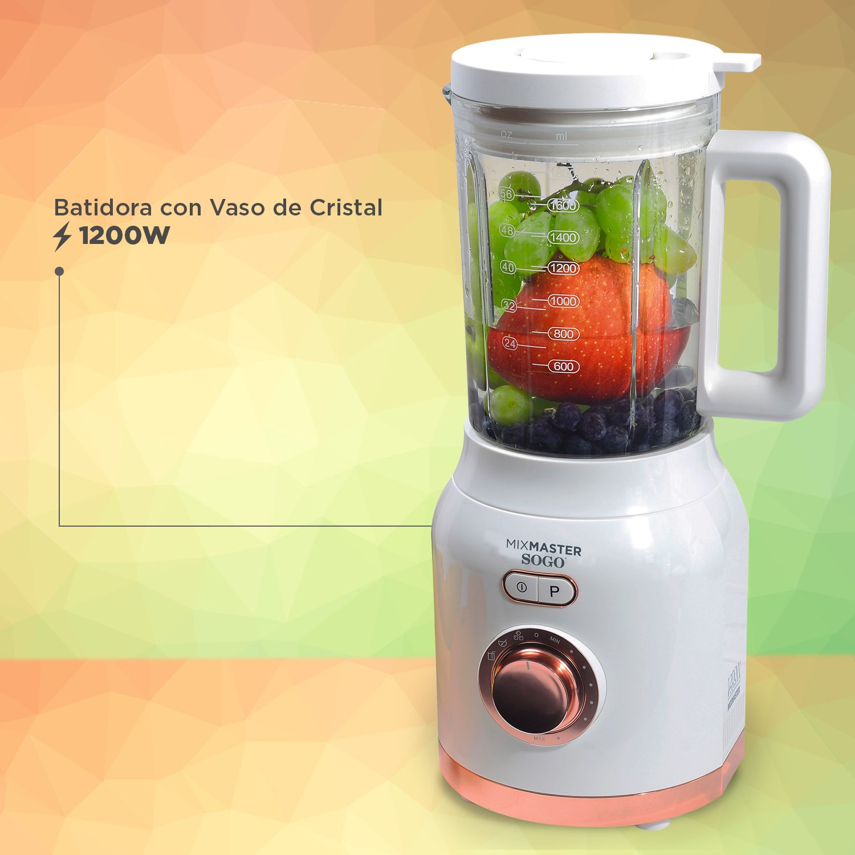 Batidora licuadora americana de vaso de 1200W con jarra de cristal de 1.6L con cuchillas de 6 hojas en acero inoxidable.: Amazon.es: Hogar