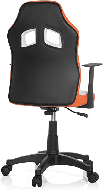 hjh OFFICE 670750 chaise de bureau enfant gaming, siège pivotant junior gamer TEEN RAYCER AL orangeblanc en simili cuir tissu, siège pivotant avec