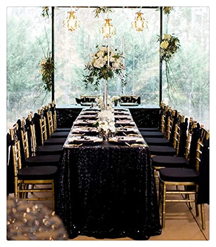 f793261f7705 Image Unavailable. Image not available for. Color  QueenDream Black Sequin  Tablecloth ...