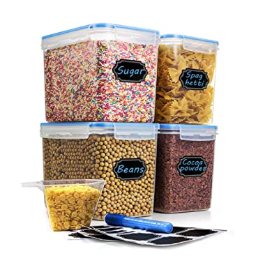 Cereal & Dry Food Storage Container, Estmoon Plastic Storage Containers, Airtight, Leakproof With Locking Lids - Suitable For Cereal, Flour, Sugar, Rice, Snacks - Set of 4 (122.99 oz / 3.6L)