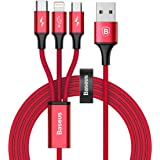 Baseus ライトニングケーブル Micro usb ケーブル Type c ケーブル 3in1 ケーブル 3A急速充電 対応 iOS - Lightning iPhone 充電 高速データ転送 と Android 充電 多機種対応 1.2m (レッド)