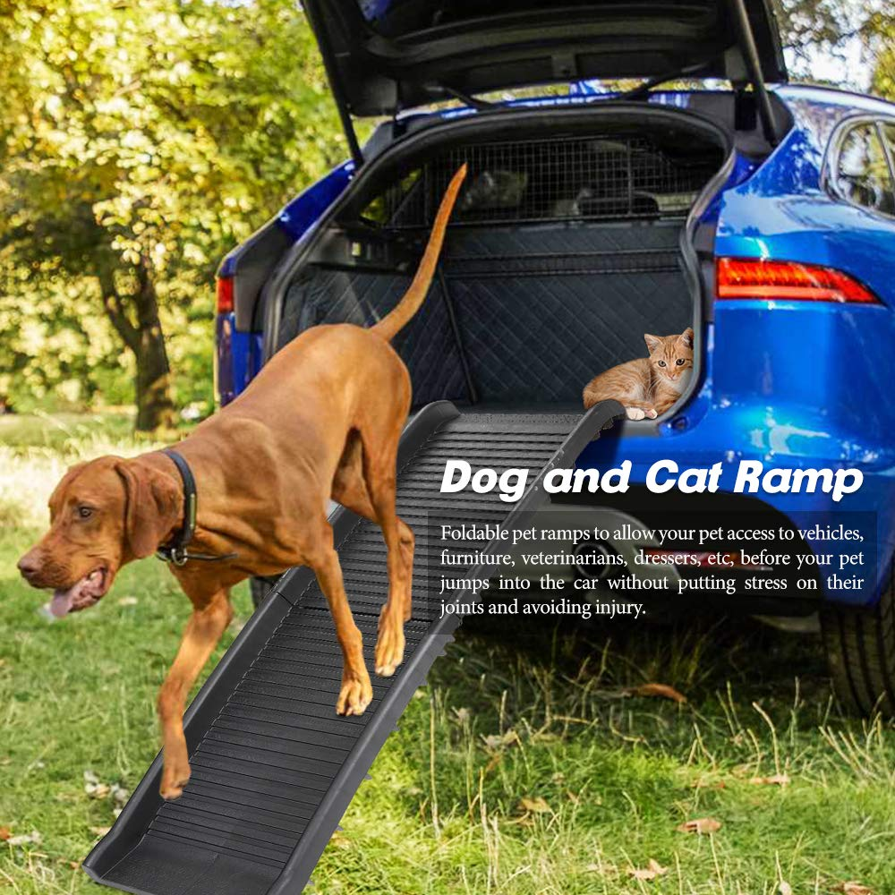 Nova Microdermabrasion Folding Pet Ramp Ladder Non-Slip Dog Cat Ramp Portable Lightweight, up to 150lbs for Cars Trucks SUVs Beds by Nova Microdermabrasion
