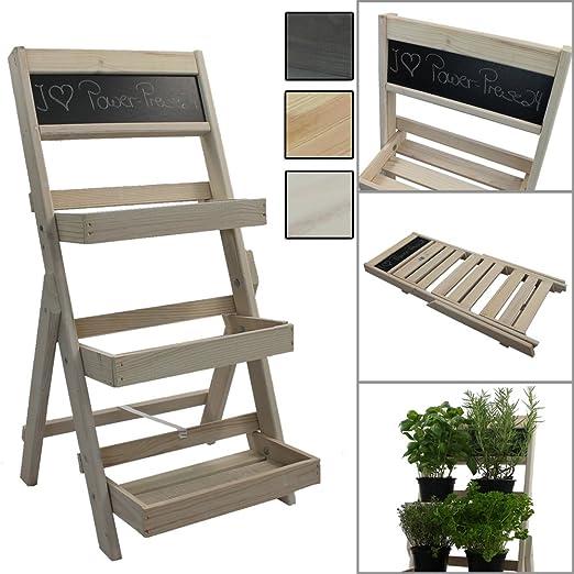 Escalera para flores de madera FSC® con pizarra para hacer ...
