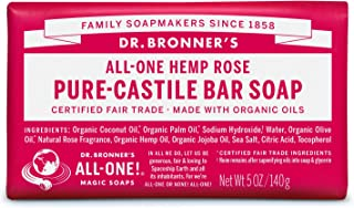 product image for Dr. Bronner's - Pure-Castile Bar Soap (Rose, 5 ounce) - Made with Organic Oils, For Face, Body and Hair, Gentle and Moisturizing, Biodegradable, Vegan, Cruelty-free, Non-GMO