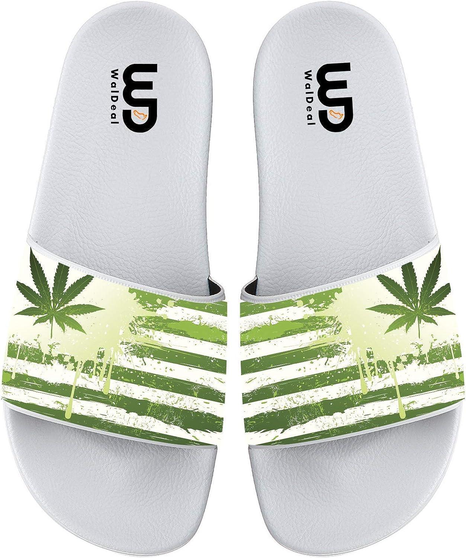 OriginalHeart American Flag Weed Summer Slides Slipper for Men Women Boy Girl Indoor Outdoor Beach Sandal Shoes
