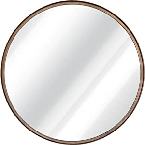 """27.5"""" Large Round Mirror - Beautiful Brushed Bronze Wall Mirror - Handcrafted Oil Rubbed Circle Mirror - Metal Framed Decorative Mirrors For Wall - Hanging Mirror - Large Circular Wall Mirror"""