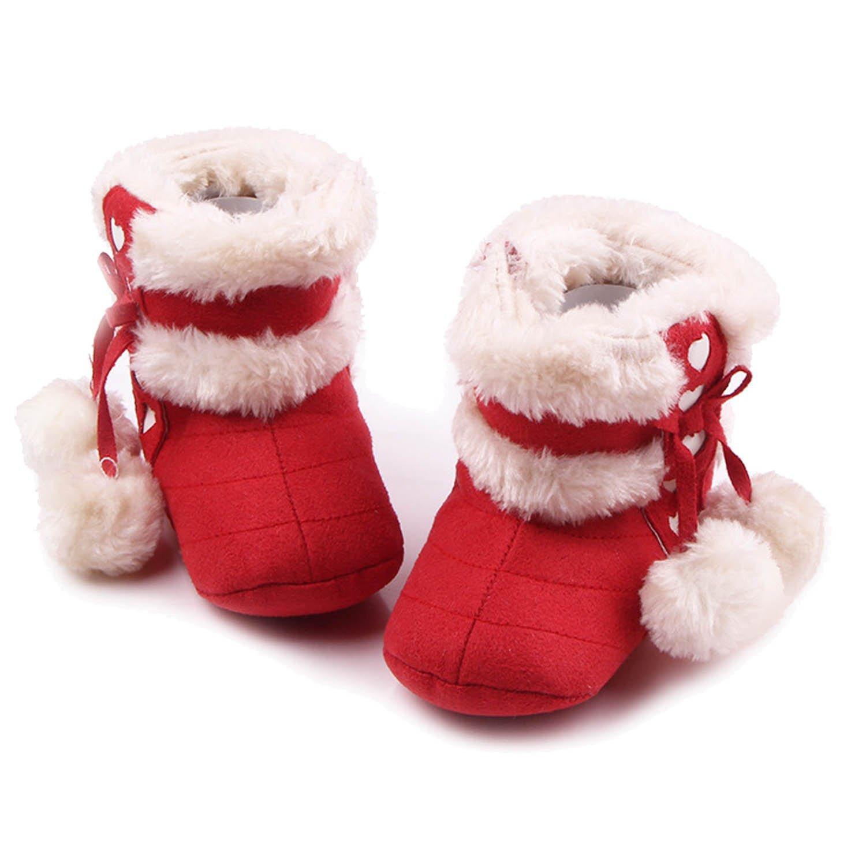 Gosear Botas de Navidad Baby Botas de invierno infantil suave Suela zapatos para 6-12 meses Baby Oscuro Rojo A