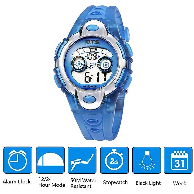 OTS - Reloj Digital Deportivo Impermeable Luminoso de Cuarzo con Alarma para Niños y Estudiantes - Color Azul claro: Amazon.es: Relojes