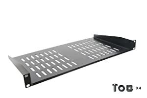 Rack Shelf - Universal Cantilever Vented 1U Rack Tray for 19-inch Server Racks and Cabinets – Premium Heavy Duty Cold Rolled Steel Designed to Hold Network and AV Equipment