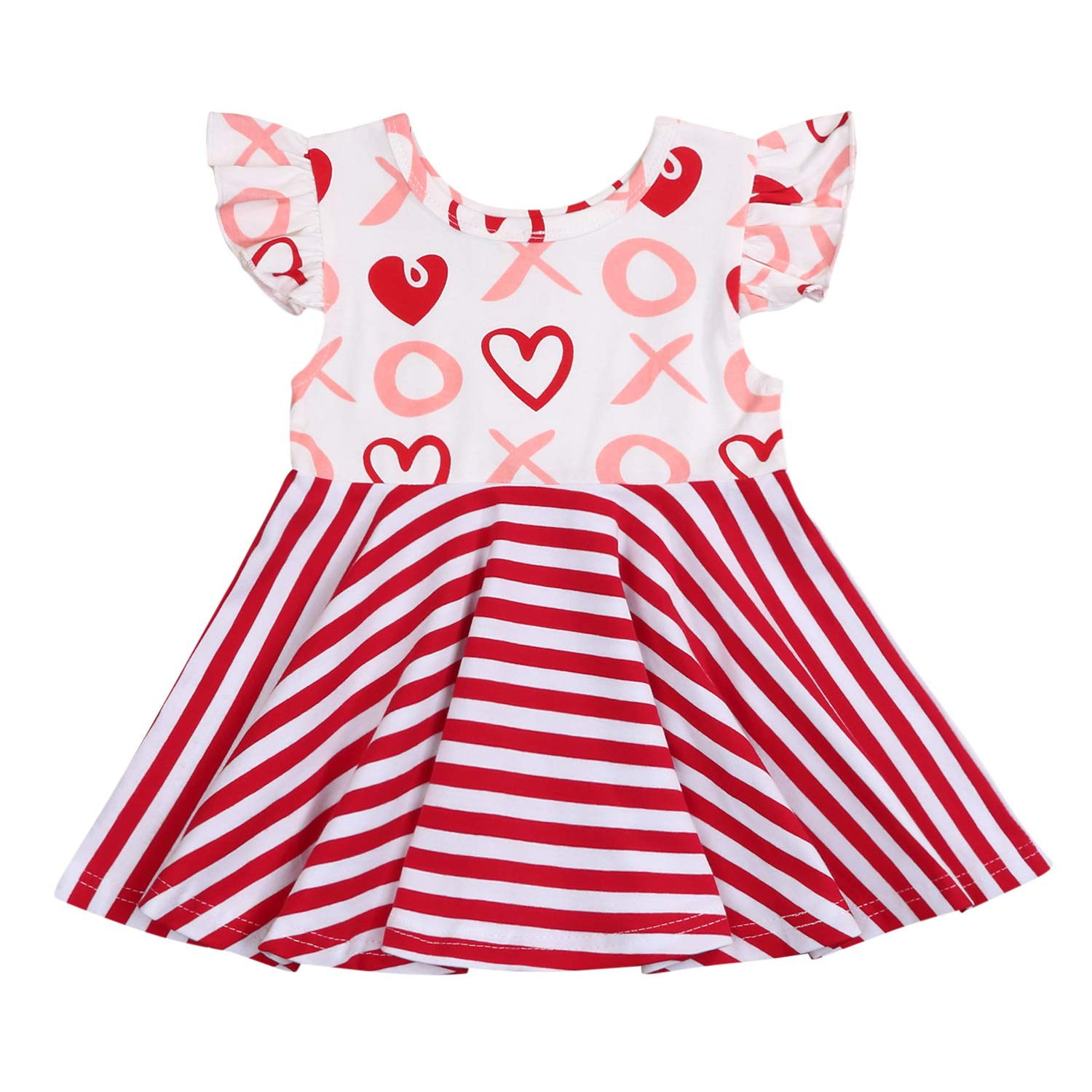 Toddler Girls Valentines Day Dress Baby Ruffled Stripe Love Heart Print Princess Sundress One-Piece Clothes