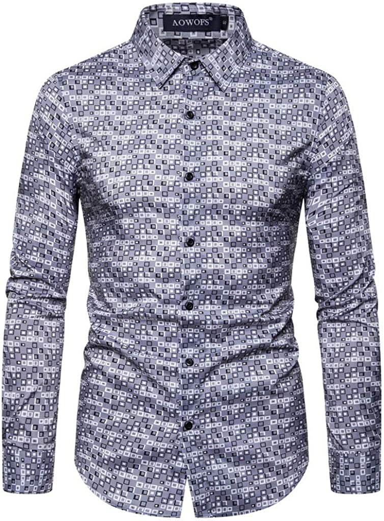 Men Casual Button Down Shirts 100/% Cotton Long Sleeve with Print KLGDA