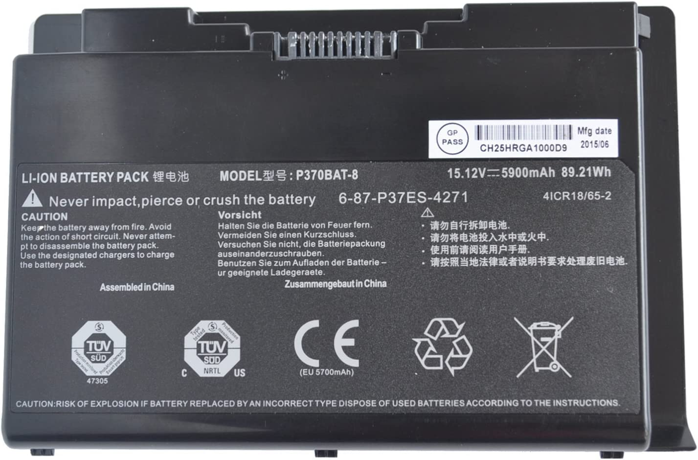 P370BAT-8 6-87-P37ES-427 6-87-P37ES-4271 Laptop Battery for Clevo P370EM P370SM P370SM3 P370EM3 P370SM-A P375SM P377SM-A P751ZM Series for Sager NP9380 NP9380-S NP9390 (15.12V 5900mAh 89.21Wh)