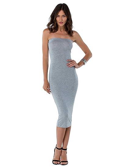 308cc0c3facc7 Shopglamla Strapless Tube Midi Dress Length 31