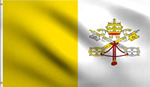 DMSE Vatican City National Flag 3X5 Ft Foot 100% Polyester 100D Flag UV Resistant (3' X 5' Ft Foot)