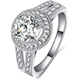 FENDINA Womens Jewelry Vintage Wedding Engagement Bands Solitaire Rings for Anniversary Band Her - 18K White Gold Plated - Luxurious Series-FR974