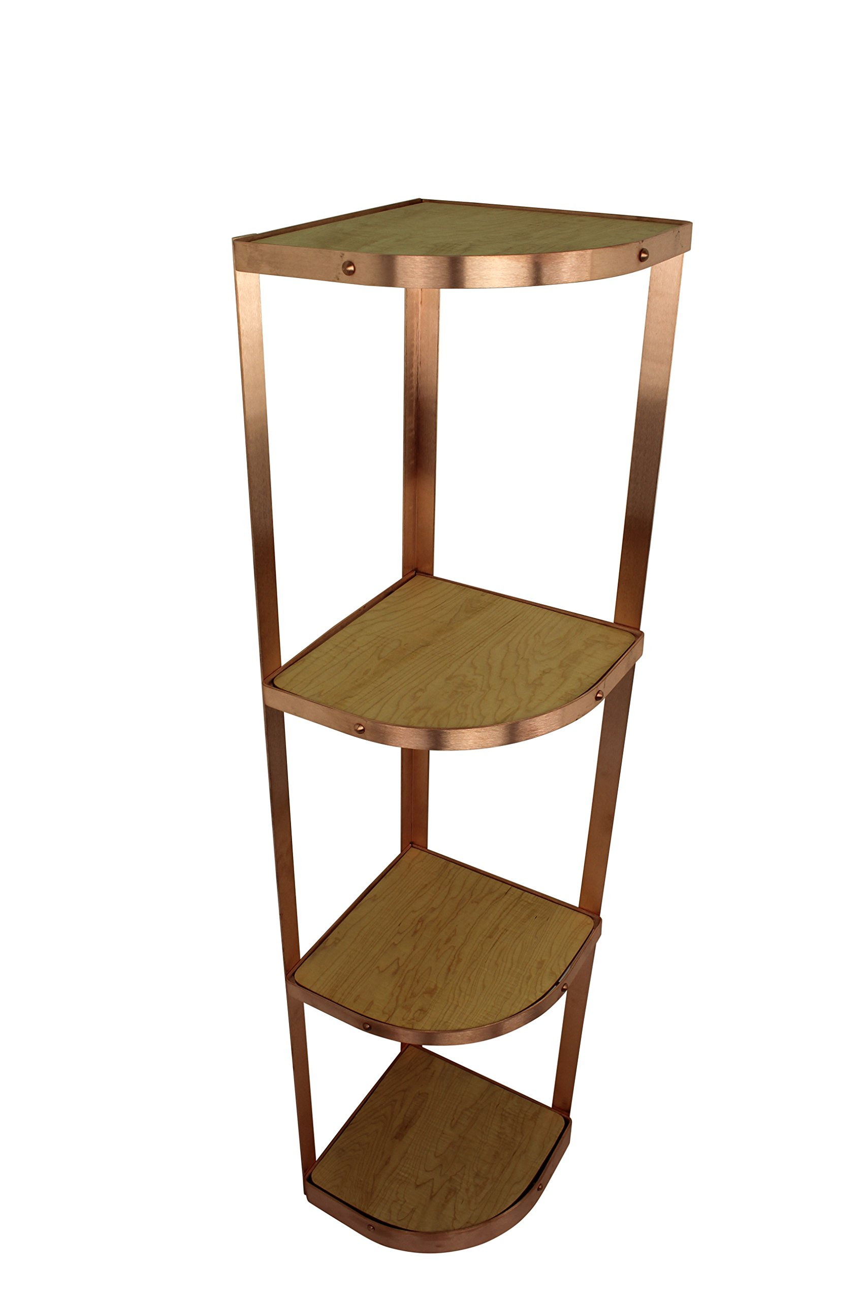 Enclume Cs4Kd Scup 4 Tier Unassembled Corner Stand, Brushed Copper, Brushed Copper