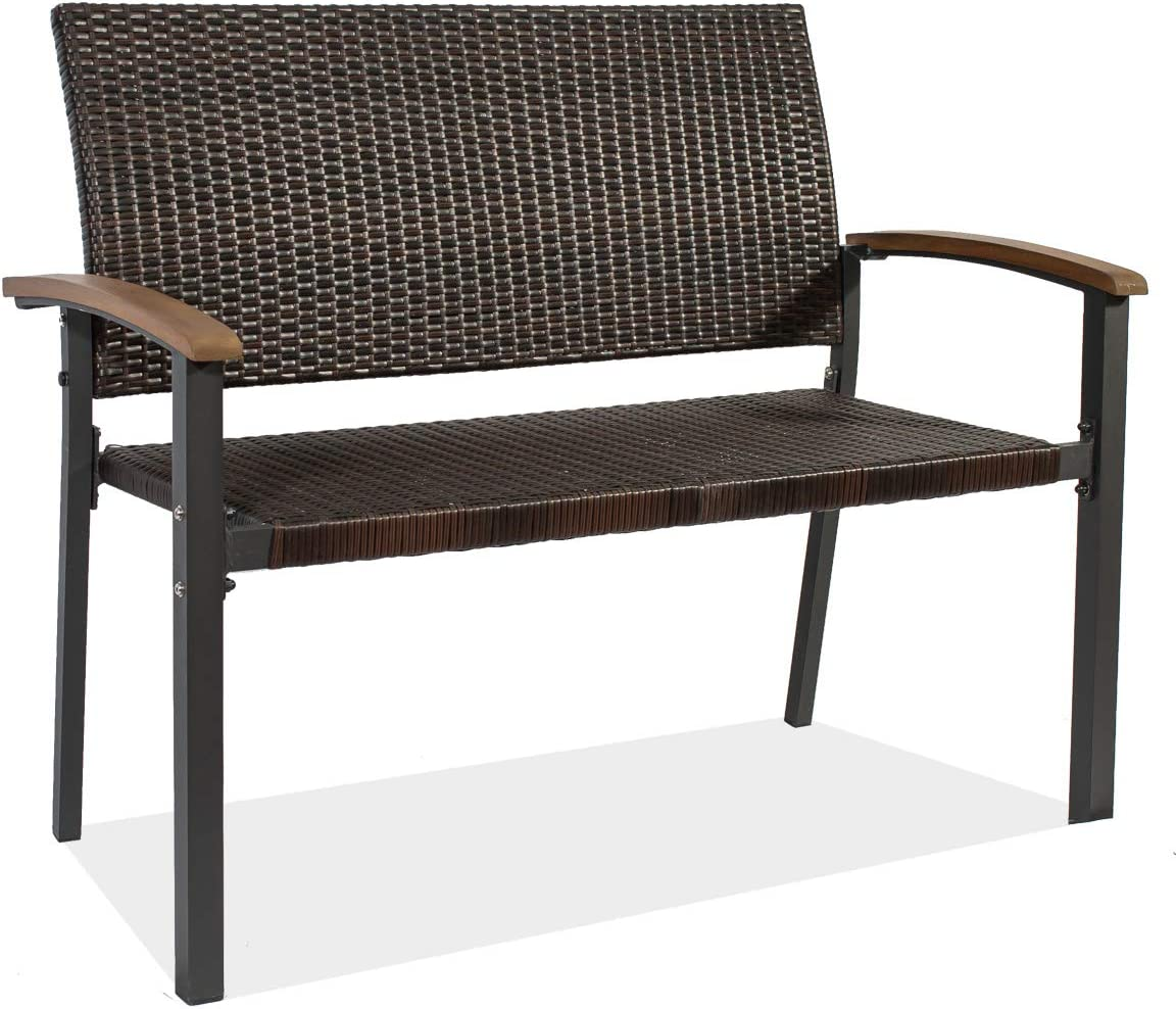 Rattan Patio Bench Durable Loveseat Bench,Patio Wicker Rattan Garden Bench,Rattan Two Person Chair with Curved Backrest and Armrest Ideal for Indoor,Patio, Porch or Balcony
