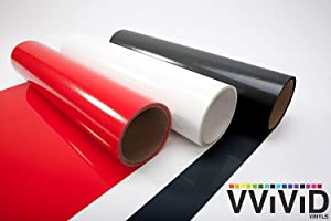 ORACAL 651 Multi-Color Vinyl Starter Kit Bundle for Cricut, Silhouette & Cameo (3 Rolls (Black,White,red) + trnsfr ppr)