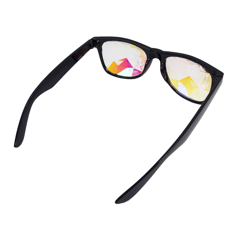 Kaleidoscope Glasses Rainbow Crystal Lens Edge Cut Eye Sunglasses for Festival EMD Party