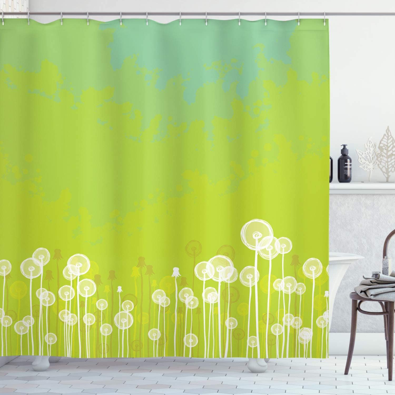 "Ambesonne Dandelion Shower Curtain, Dandelion Flower Pattern Wild North American Flowering Plant Summertime, Cloth Fabric Bathroom Decor Set with Hooks, 84"" Long Extra, Apple Green"