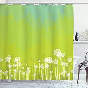 Ambesonne Dandelion Shower Curtain, Dandelion Flower Pattern Wild North American Flowering Plant Summertime, Cloth Fabric Bathroom Decor Set with Hooks, 70