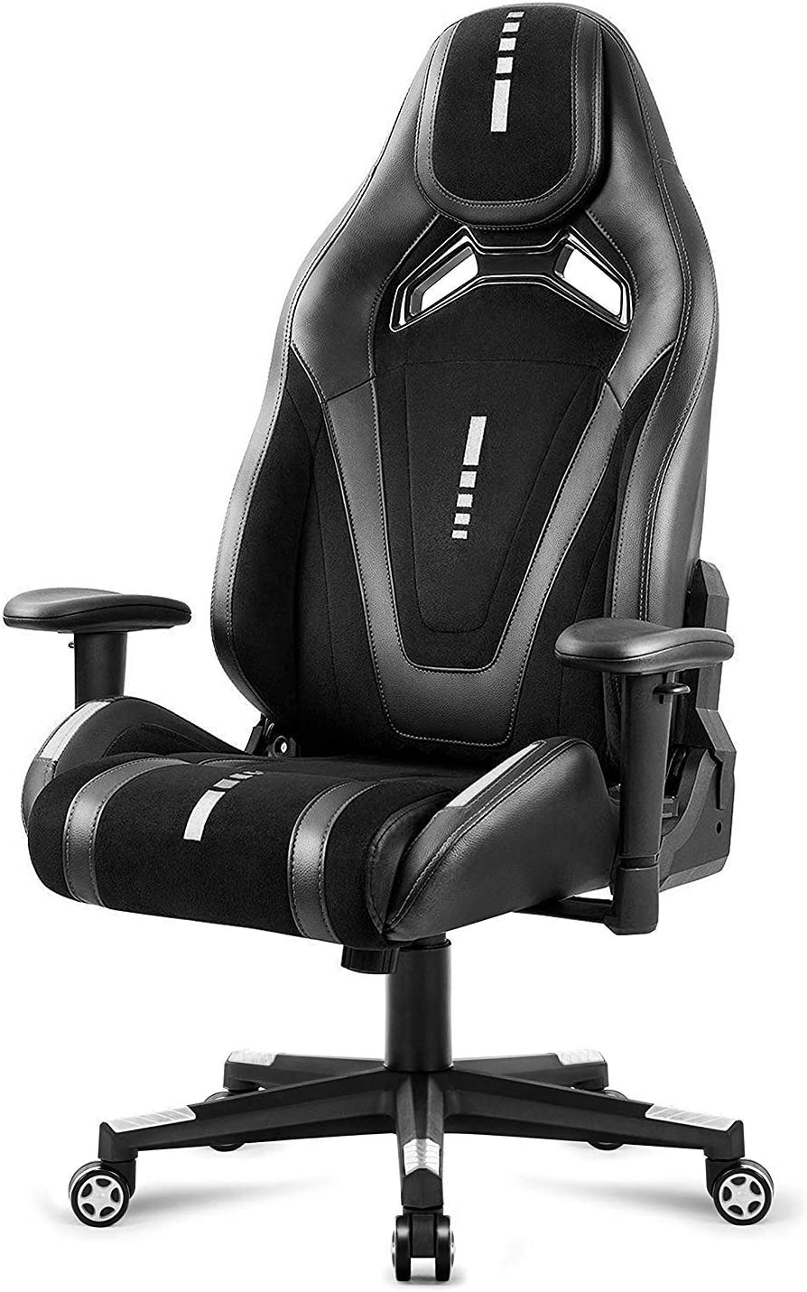 Black Suede Fabric Racing Gaming Chair,