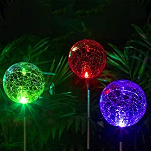 Solpex Solar Globe Lights Outdoor , Cracked Glass Ball Dual LED Garden Lights,Color-Changing Outdoor Landscape Garden Light Decoration, Garden Decor.