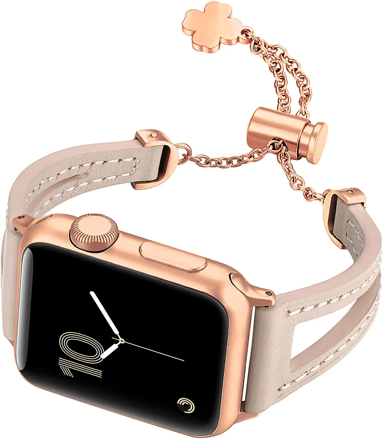 Fastgo Bracelet Compatible with Apple Watch Bands 38mm 40mm 42mm 44mm, Slim Thin Leather Breathable Replacement Strap Bands Women Girls for Iwatch Series SE & 6/5/4/3/2/1