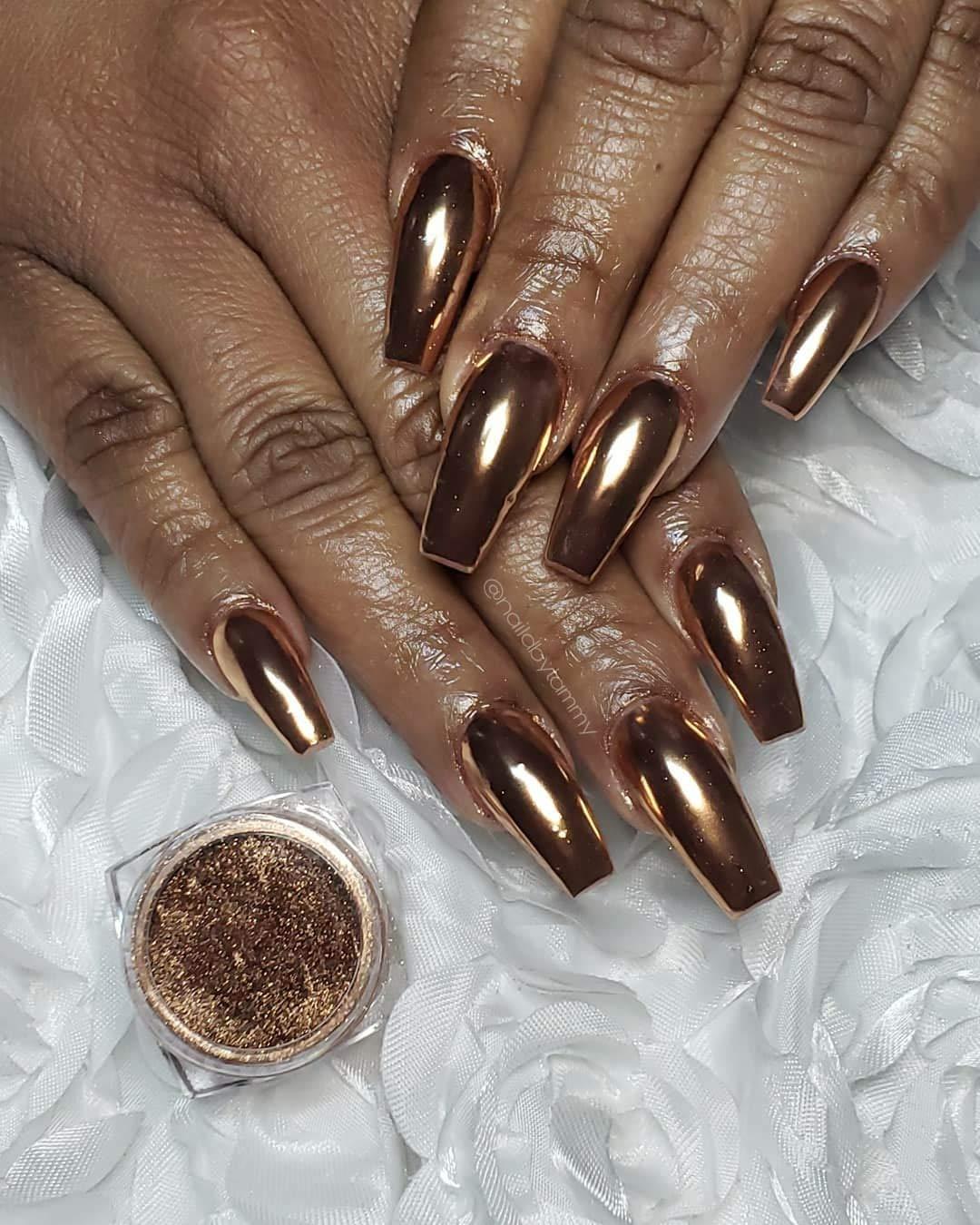 Tempea Golden Cinnamon Bronze chameleon mirror laser chrome NAIL PIGMENT POWDER nail art chrome MIRROR effect NAIL FOIL POWDER shiny nail dust holographic unicorn shiny laser nail sequin (Bronze) by Tempea