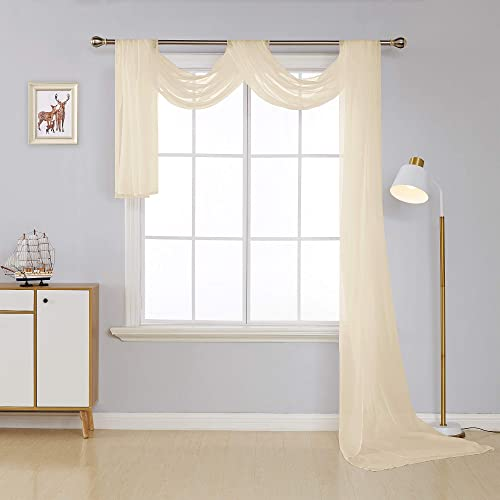 Deconovo Elengace Window Sheer Voile Scarf Valance Panel for Wedding Beige 54W x 216L Inch One Panel
