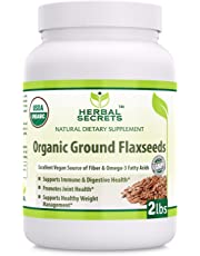 Herbal Secrets USDA Certified Organic Ground Flaxseed 2 Lbs (Non-GMO) - Excellent Vegan Source of Fiber & Omega -3 Fatty Acids - Promotes Joint Health,Supports Healthy Weight Management*