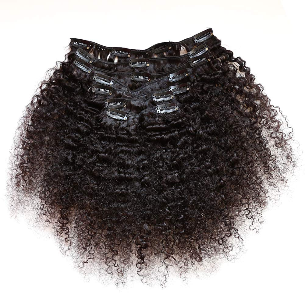 ZigZag Hair Afro Kinky Curly 3B 3C Clip in Hair Extensions for Black Women Peruvian Virgin Human Hair Clip Ins Natural Color (14inch, 3B 3C)