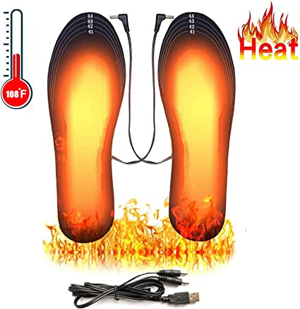 Hunting Skiing Winter Insole Foot Warmers for Men and Women DIY Customizable Electric Heated Insoles for Outdoor USB Rechargeable Heated Shoes Pad Size 8-12//41-45 Heated Insoles Camping