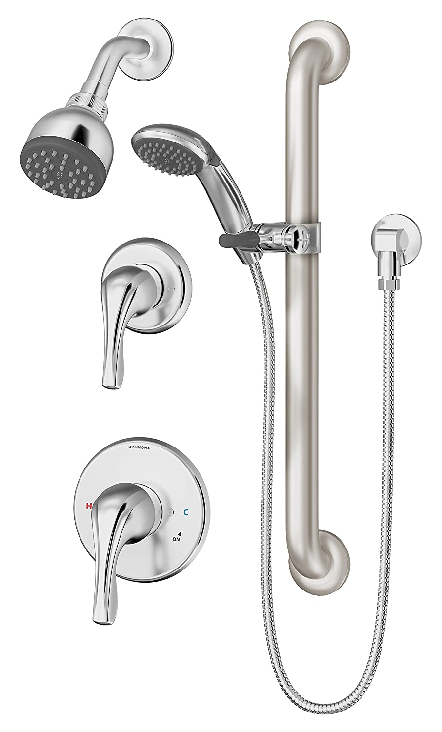 Symmons 9605-PLR-1.5 Origins 1-Spray Handshower & Showerhead Combo ...